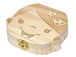 (BMC JAPAN) 乳歯ケース 乳歯入れ 木製 顔型 抜けた日シール付(日本語表記) 女の子