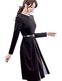 07c22c0f51dfb BolanVerl裾 切り替え バイカラー 長袖 ブラックフォーマル ワンピース ブラック ドレス 黒 ...