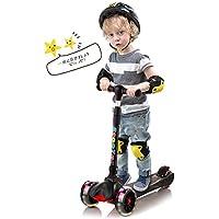 XJD キッズ スクーター 3輪 キックスクーター 子供用 キックボード 組立不要 LED光るビッグウィール 4階段調節可能 後輪ブレーキ 折りたたみ式 3-12歳に向け 子供のギフトに最適