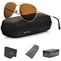 LUENX Men Aviator Sunglasses Polarized for driving with case 60MM