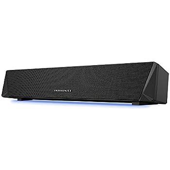 TaoTronics Bluetooth 5.0 サウンドバー PC スピーカー ゲーム向きLEDライト付 高音質デュアルパッシブラジエーター 壁掛け可 ストップウォッチ機能付