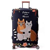 "Maddy's Home スーツケースカバー 伸縮素材 保護 盗難防止 防塵 パンダ 海馬 動物柄 (Follow Heart, XL (29""-32"" suitcase))"