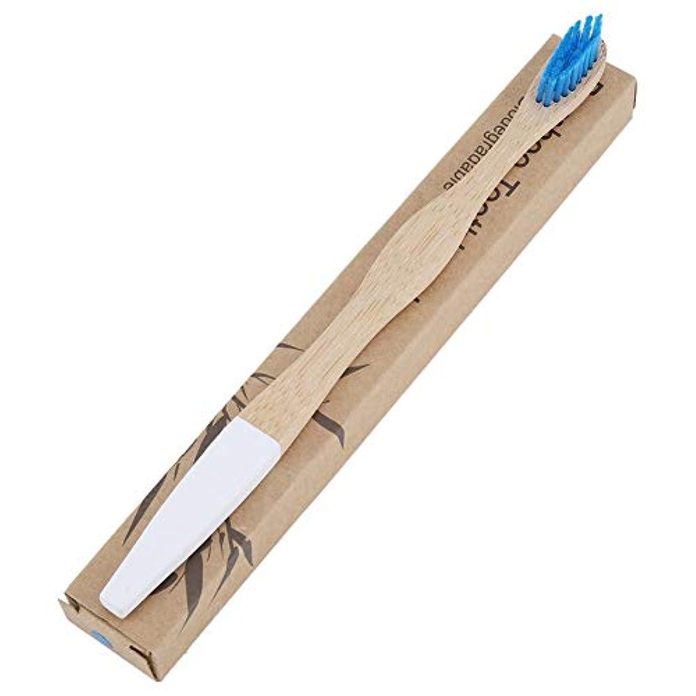口の健康 贅沢ケア 柔らかい歯ブラシ 歯ブラシ 歯周ケアハブラシ 超極細毛 コンパクトかため 竹ハンドル ブラシ 知覚過敏予防 大人用ハブラシ 2本 色は選べません(ブルー)