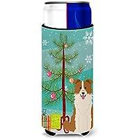 Caroline 's Treasures bb4244muk MerryクリスマスツリーボーダーコリーレッドホワイトMichelob Ultra Hugger Forスリム缶、マルチカラー