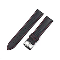 Best Master 腕 時計 ベルト レザー カーボン 型押し ラバーコーティング スライドバネ棒加工済み 黒地+赤ステッチ 20mm