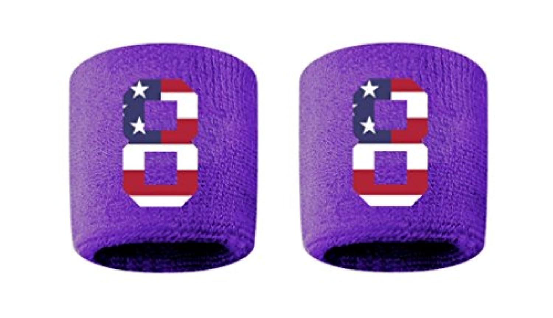 # 8刺繍/ステッチ汗止めバンドリストバンドパープルSweat Band w/USAアメリカ国旗数(2パック)