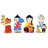 Korea Character Papertoy - Kongji Patji & Red blue Foldingfan & Sun and the moon & The honest Woodman