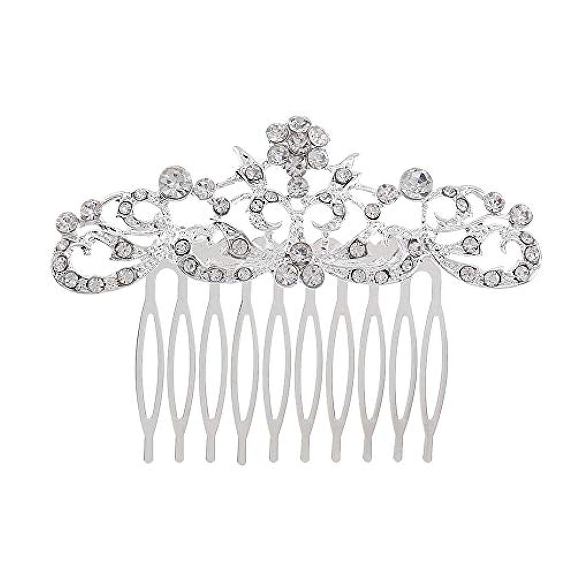 次美しい圧縮された髪の櫛の櫛の櫛の花嫁の髪の櫛のファッションラインストーンの櫛の櫛の花嫁の頭飾りの結婚式のアクセサリー