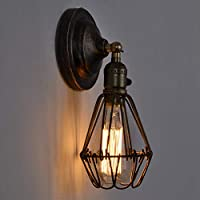 ロフトヴィンテージウォールランプランプシェードアイアンバードケージアップリケムラール照明器具ワンドランプイルミナシオンシックなワンドランペンレトロランプ