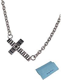 [フェフェ]fe-fe phiten ファイテン チタン ペンダント ネックレス メンズ クロス ブラック ダイヤモンド [セット品]2点セット(ネックレスとジュエリーコトブキお磨きクロス)