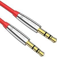 Syncwire オーディオケーブル【コンパクト / 極細】高音質 AUXケーブル 車/ スピーカー/ ヘッドホン/ iPhone/ Android対応 ステレオミニプラグ 標準3.5mm - 1M 赤