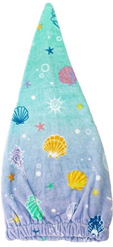 ベーリング海峡影響力のあるケーブル林(Hayashi) ヘアドライタオル ブルー 約23×57cm タオルキャップ シークレットシェル ZI460900