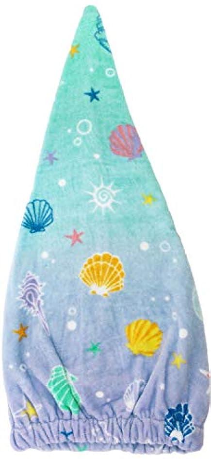 腰球体フライカイト林(Hayashi) ヘアドライタオル ブルー 約23×57cm タオルキャップ シークレットシェル ZI460900