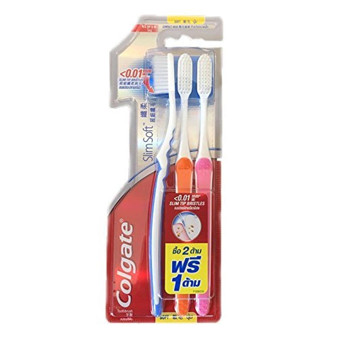 宿泊施設苦行旋回Colgate Compact Soft | Slim Soft Toothbrush, Family Pack (3 Bristles) by BeautyBreeze