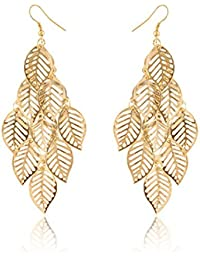 Niome One Pair Unique Bohemia Nine Leaves Long Fashion Dangle Earrings For Girls Gold