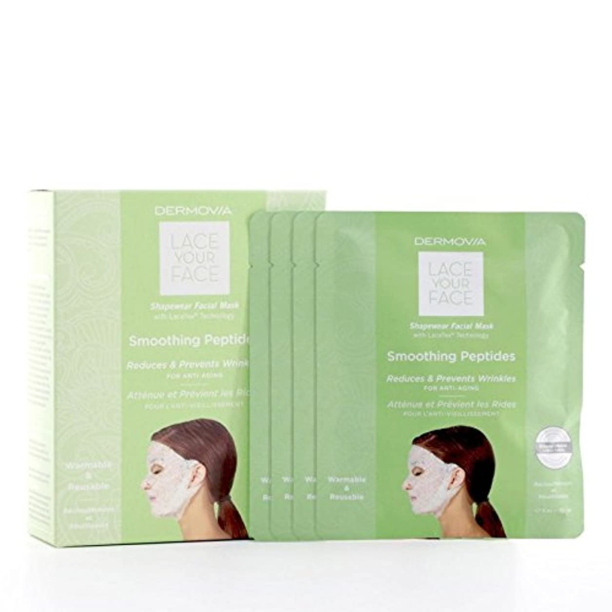 経過チートトレースDermovia Lace Your Face Compression Facial Mask Smoothing Peptides (Pack of 6) - は、あなたの顔の圧縮フェイシャルマスク平滑化ペプチドをひもで...