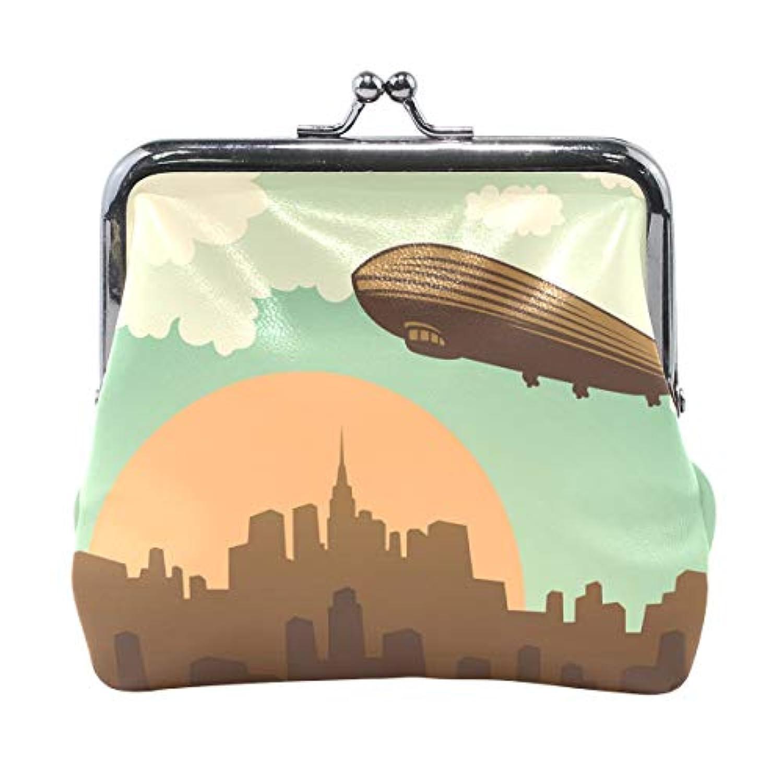 がま口 財布 口金 小銭入れ ポーチ 都市 飛行機 Jiemeil バッグ かわいい 高級レザー レディース プレゼント ほど良いサイズ