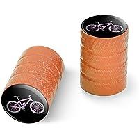 オートバイ自転車バイクタイヤリムホイールアルミバルブステムキャップ - オレンジピンクペダルマウンテンバイク自転車