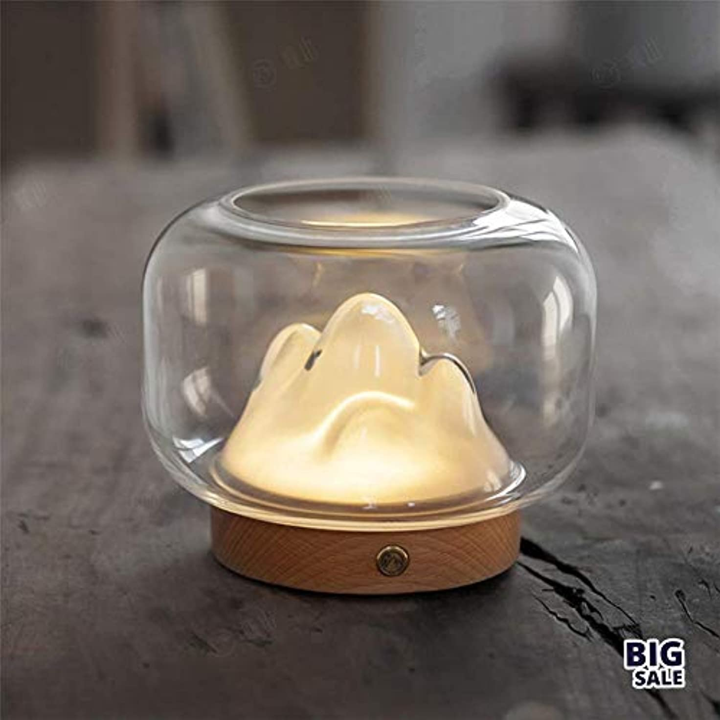エンゲージメントライオン没頭するNICEE暖かい光の夜の光-USB充電暖かい山は魚の夜の光を上げることができます、ガラスの夜の光のギフトNICEY