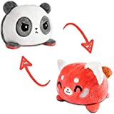 TeeTurtle | The Original Reversible Panda and Red Panda Plushie | Patented Design | Black and Red | Show Your Mood Without Sa