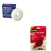 kitmmm6055rmmm6200341296 – Valueキット – Scotch粘着ドットRefill ( mmm6055r )とHighland Invisible Permanent Mendingテープ( mmm6200341296 )