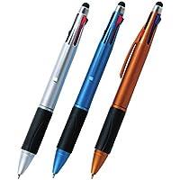 【単品/色指定不可品】タッチペン付き4色ボールペン 【書きやすい 握りやすい 文房具 文具 サイン 書類 携帯 筆記用具 販促 配り物 カジュアル シンプル 使いやすい たっちぺん スマホ タブレット 120】