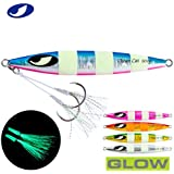 OCEAN CAT 1 PC Slow Fall Pitch Fishing Luers Sinking Lead Metal Jigs Jigging Bait with Hook for Saltwater Fishing 10-16cm 60G/80G150/200G/250G