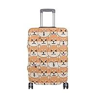 スーツケースカバー 荷物カバー 柴犬の顔 伸縮素材 ラゲッジカバー 防塵 擦り傷防止 トラベルアクセサリ 旅行