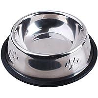 【Realpet】ペット用食器 犬猫用 富士型 ボウル ステンレス製 滑り止め 凸足跡に飾り 6サイズ選択可能 (M)