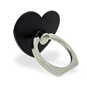 ホワイトナッツ スマホリング ハート ブラック バンカーリング 落下防止 スタンド おしゃれ かわいい オシャレ 指輪 デザイン 可愛い シンプル グリップ wn-0814482-wy