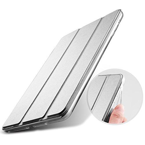 2017年 新型 iPad 9.7-inch(A1822/A1823)用 ソフトTPUサイドエッジタイプ スマートカバー ケース 三つ折り保護カバー クリアケース 自立スタンド・オートスリープ機能 軽量・極薄タイプ 角割れにくく長持ち AQUA/アクア (2017 iPad 9.7-inch, Light Grey)