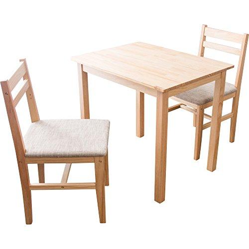 アイリスプラザ ダイニングセット ダイニングテーブル セット 3点セット 2人掛け 2人用 ニコル ナチュラル×ベージュ テーブル:幅約80×奥行約60×高さ約70、チェア:幅約42×奥行約47×高さ約80 (座面高)43㎝