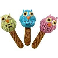 Cheengoo Hand Crocheted有機Rattles – 3のセットフクロウ