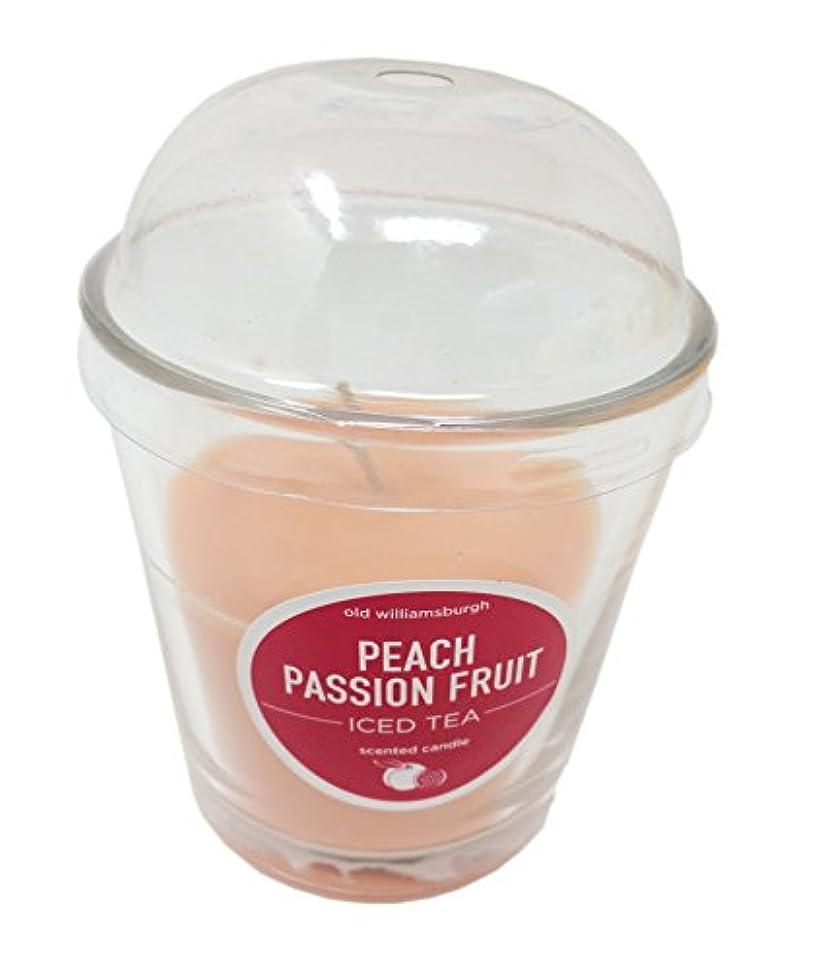 裕福なリーフレット不器用古いWilliamsburghピーチパッションフルーツIced Tea Scented Candle 2のセット、ガラス、3インチJars