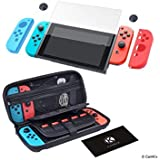 CamKix Grip and Protection Kit Compatible with Nintendo Switch: Nylon Case with 20 Game Card Inserts, Tempered Glass Screen P