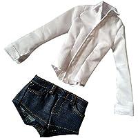 Dovewill 12インチフィギュアボディ用  1/6スケール レディース 女性 白シャツ ショーツジーンズ  服