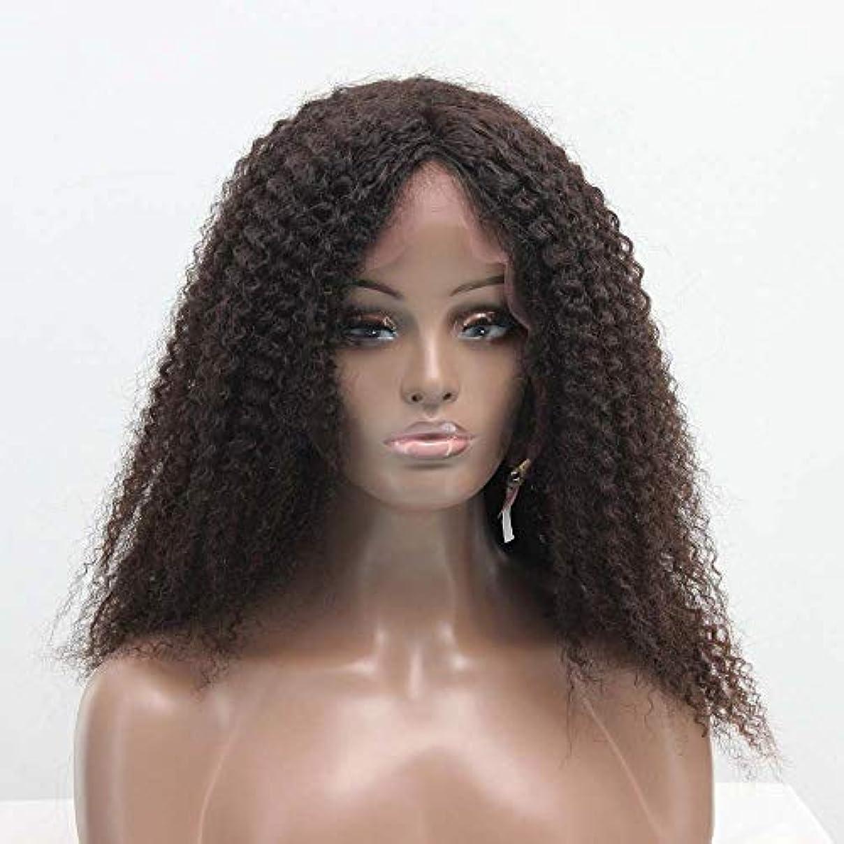 曲げる命令呪いZXF 真ん中と長い肩ふわふわフル手織り本物の髪の絹のフロントレースアフリカの小さな毛虫オールシーズン女性かつらセット 美しい (Size : 20