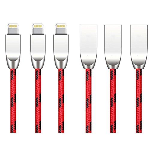 Cherry.Love.Rain 3本 ライトニングケーブル iPhone / iPad / iPod各種対応 iphone 充電ケーブル(亜鉛合金USB) 1m 1m Red