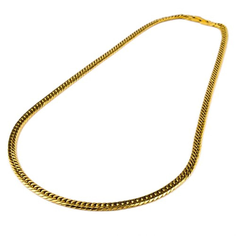 チタン ネックレス ダブル喜平 6面カット 50cm 幅4.5mm (ゴールド イオン プレーティング加工) キヘイチェーン 金属アレルギー対応