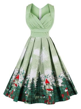 Killreal Women's 1950s Cut Out V-Neck Vintage Casual Cocktail Swing Christmas Dress Green XX-Large