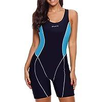 Yateen Womens Boy-Leg One Piece Swimsuit Pro Racerback Swimwear Racing Bathing Suit