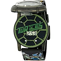 Ninja Turtles Kids' Digital Watch with Pop Open Top/Casing, Flashing LED Lights, Black Strap - Official TMNT Characters on the Top, Safe for Children - Model: TMN4205