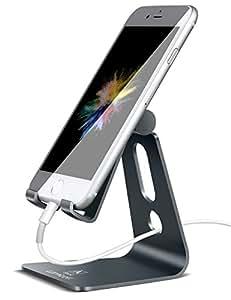 スマホ スタンド 角度調整可能, Lomicall iphone スタンド : 充電スタンド, ホルダー 対応 Nintendo Switch, 携帯電話, アイフォン, iPhone 7 6 6s plus 5 5s ,Samsung S3 S4 S5 S6 S7, Galaxy S7 S6, Note 6 5, LG, Sony Xperia, Nexus - 灰