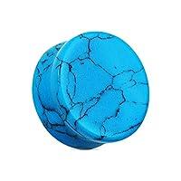 ボディピアス プラグ ダブルフレア 【天然石 ターコイズ】 フレア形状 (7/8G) ラプラス laplace