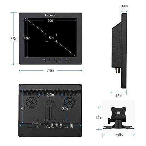 『Eyoyo 8インチ ディスプレイ 小型LCDカラービデオモニター スクリーン 1024x768 VGA BNC AV HDMI Ypbpr 機能付き PC CCTVホーム 入力』の4枚目の画像