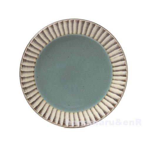 益子焼(栃木) つかもと窯 利平 5.5寸平皿 打刷毛目 | 陶器 取皿 プレート (青)