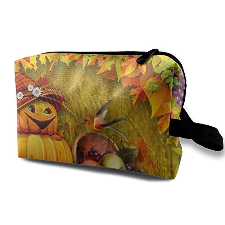 難民合唱団不機嫌Autumn Pumpkin Bright 収納ポーチ 化粧ポーチ 大容量 軽量 耐久性 ハンドル付持ち運び便利。入れ 自宅?出張?旅行?アウトドア撮影などに対応。メンズ レディース トラベルグッズ