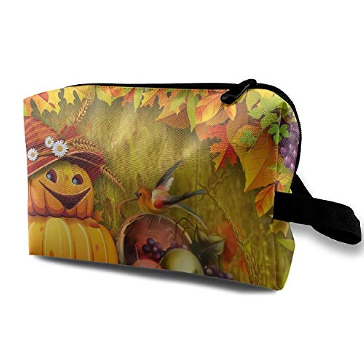 枯渇する半ば頼るAutumn Pumpkin Bright 収納ポーチ 化粧ポーチ 大容量 軽量 耐久性 ハンドル付持ち運び便利。入れ 自宅?出張?旅行?アウトドア撮影などに対応。メンズ レディース トラベルグッズ