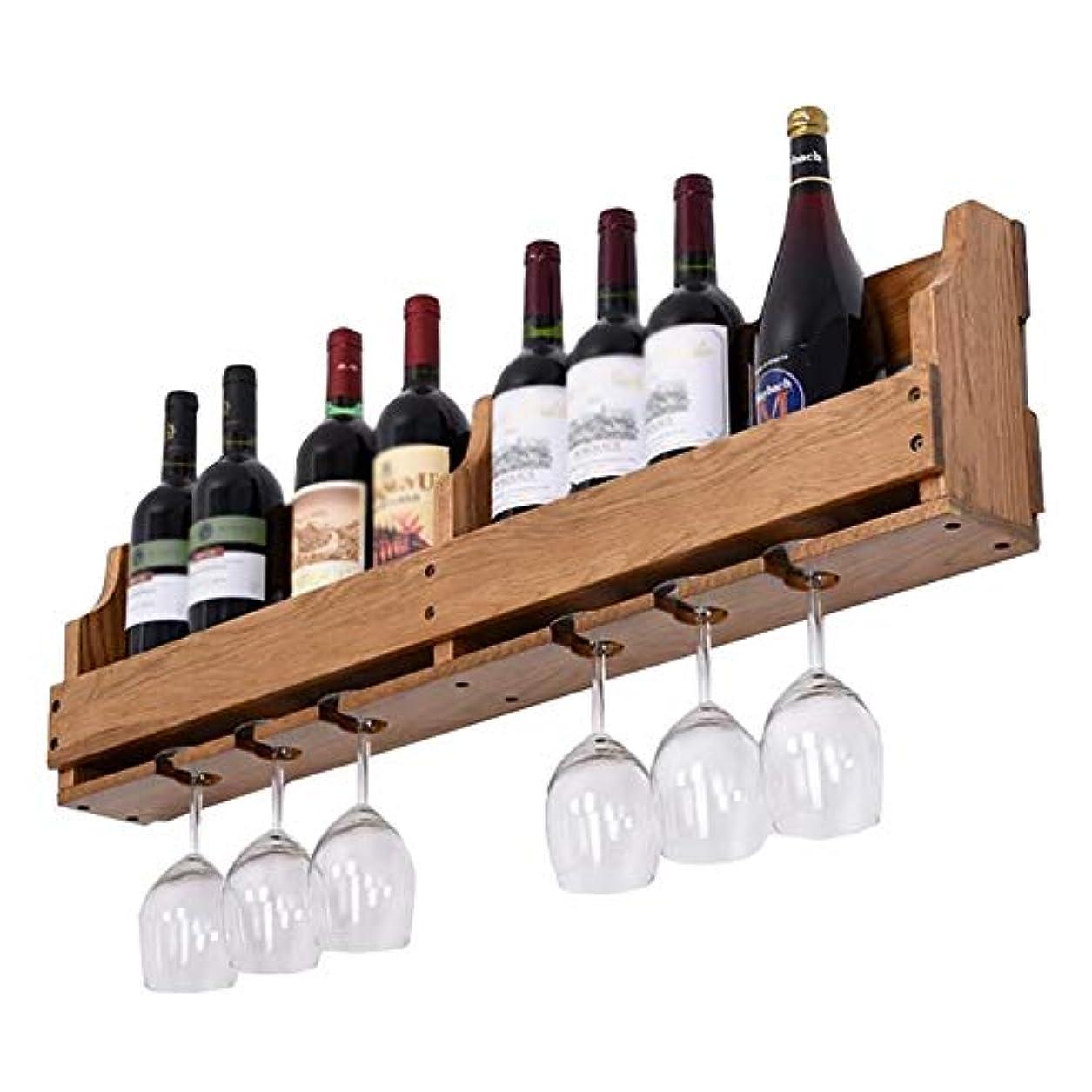 の頭の上情熱的認証YXX- 8本のびんおよび6つの脚付きグラスのガラスのための壁に取り付けられた木製のワインラック - 台所、食堂、棒、ワインセラーのために大きい (Color : Style-3)