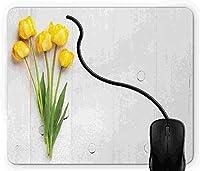 マウスパッド 黄, 疲労低減 ワイヤレスマウスパッド 耐久性が良い 滑り止めゴム底 滑りやすい表面 マウス用パット 1D4738